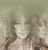 sepia-tone image of Brigid, the triple goddess with the faces of the maiden, mother, and crone